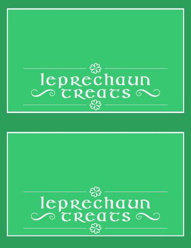 St. Patrick's Day Leprechaun Treats Bag Topper Printable pre-designed label template for OL1258