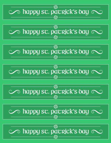 "OL435 - 8.1875"" x 1.375"" - Happy St. Patrick's Day Water Bottle Labels Printable"