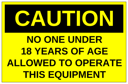"OL400 - 8.5"" x 5.5"" - Caution - No One Under 18 Years of Age Allowed"