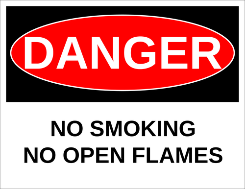 "OL175 - 8.5"" x 11"" - Danger - No Smoking - No Open Flames Label"