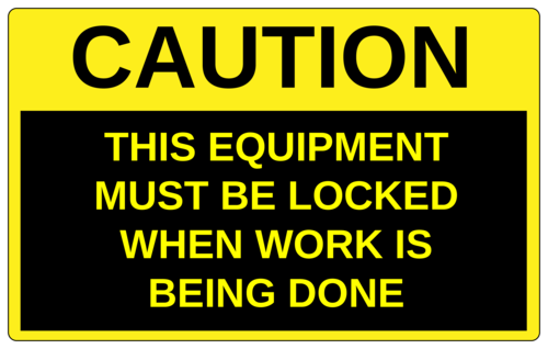 Caution - Equipment Must Be Locked pre-designed label template for OL131