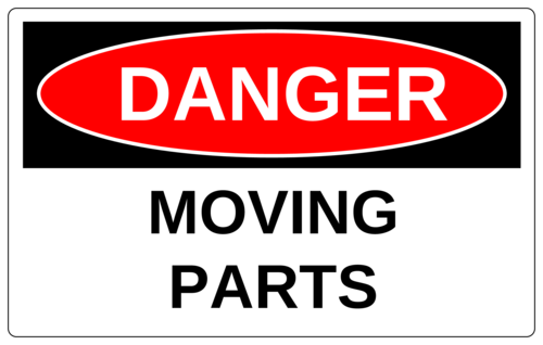"OL131 - 8"" x 5"" - Danger - Moving Parts"