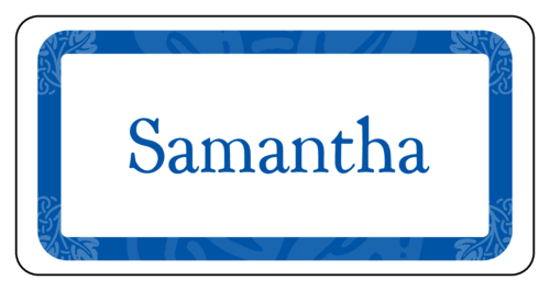 "OL125 - 4"" x 2"" - Blue Name Tag with Ornaments Label"