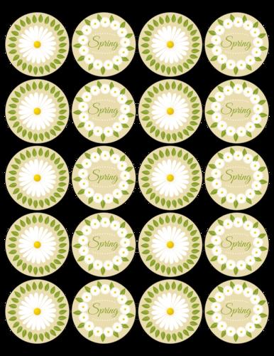 Flower Circle pre-designed label template for OL5375