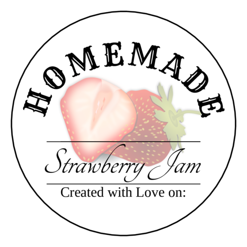 Homemade Strawberry Jam Printable pre-designed label template for OL350