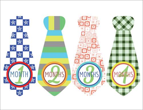 "OL175 - 8.5"" x 11"" - Baby Boy Photo Age Labels with Cute Tie 1-4 months"