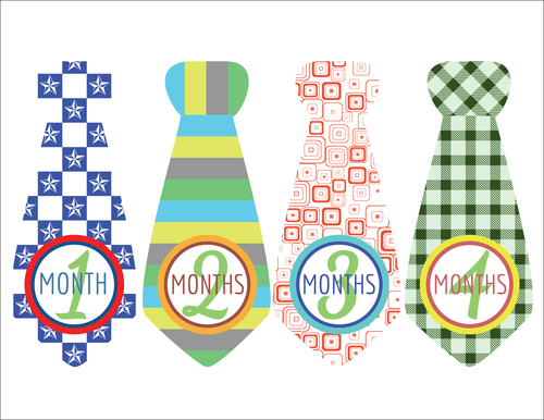 """OL175 - 8.5"""" x 11"""" - Baby Boy Photo Age Labels with Cute Tie 1-4 months"""