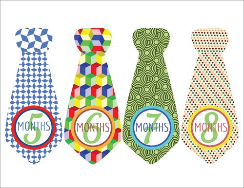 "OL175 - 8.5"" x 11"" - Baby Boy Photo Age Labels with Cute Tie 5-8 months"