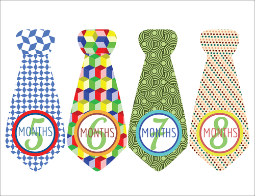 """OL175 - 8.5"""" x 11"""" - Baby Boy Photo Age Labels with Cute Tie 5-8 months"""