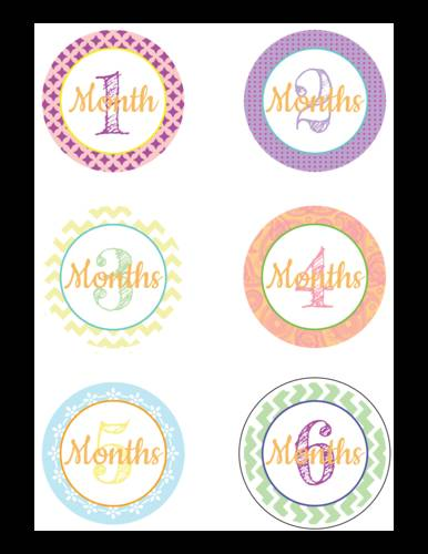 "OL2279 - 3"" Circle - Baby Age Milestone Sticker Label Months 1-6"