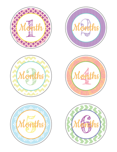 "OL2279 - 3"" Circle - Baby Age Milestone Sticker Label Months 1-6"