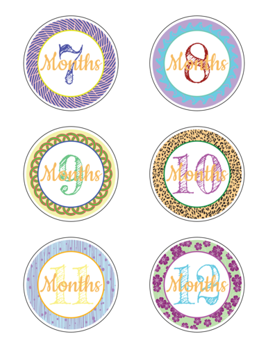 "OL2279 - 3"" Circle - Baby Age Milestone Sticker Label Months 7-12"