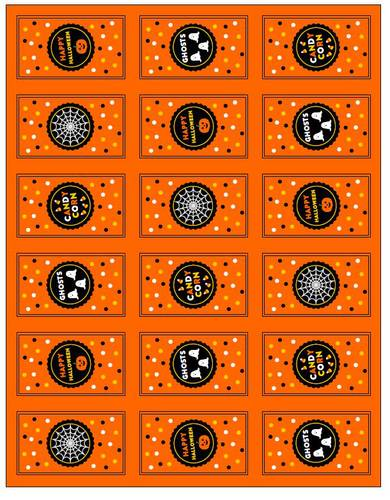 "OL800 - 2.5"" x 1.563"" - Happy Halloween Mini Chocolate Candy Bar Labels"