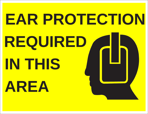"OL175 - 8.5"" x 11"" - Ear Protection Required in This Area Label"