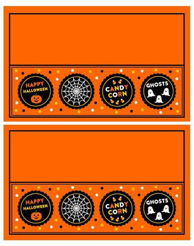 Halloween Plastic Bag Treat Topper with Cute Design - Free pre-designed label template for OL1258
