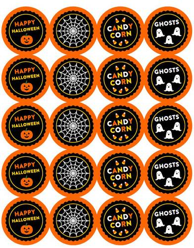 Halloween 2 Inch Round Sticker/Labels With Cute Designs pre-designed label template for OL5375