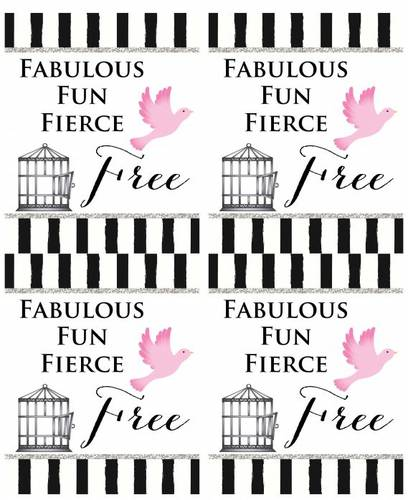 "OL475 - 4"" x 5"" - Divorce Party Wine Labels - Fabulous Fun Fierce & Free"