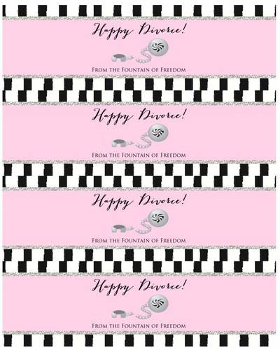 "OL5950 - 8"" x 2.5"" - Happy Divorce - Water Bottle Labels for Divorce Party"