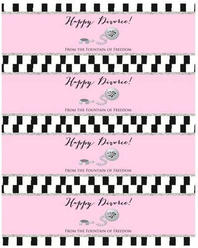 "OL5950 - 8"" x 2.5"" - Happy Divorce - Water Bottle Labels for Divorce Party"