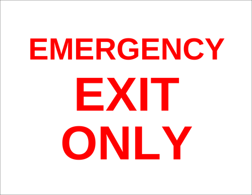 "OL175 - 8.5"" x 11"" - Emergency Exit Only Label"