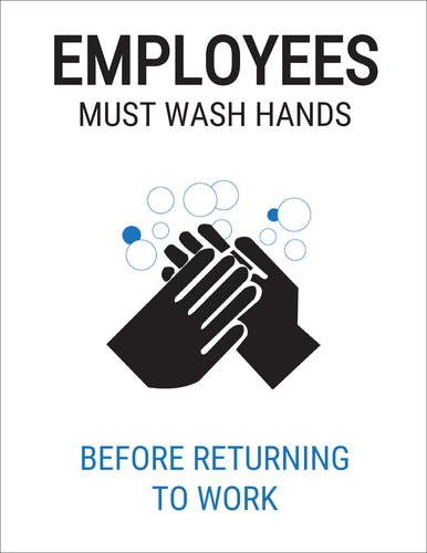 "OL175 - 8.5"" x 11"" - Employees Must Wash Hands Label"