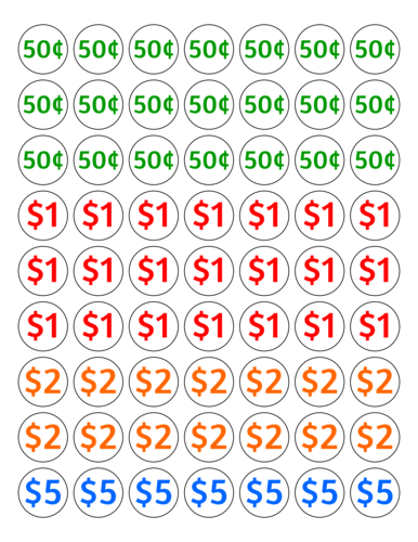 Pricing Labels For Garage Sales .50 cents - $5 pre-designed label template for OL1025