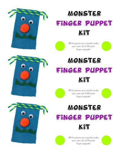 Monster Finger Puppet Kit pre-designed label template for OL5925