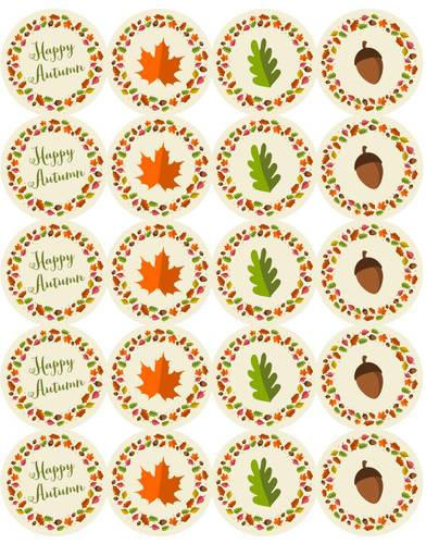 Autumn Leaf Round Labels pre-designed label template for OL5375