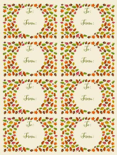 "OL575 - 3.75"" x 2.438"" - Autumn Leaf Themed To: & From: Gift Tag Labels"