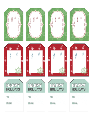 Complimentary Holiday Gift Tag Labels - To: & From: pre-designed label template for OL1763