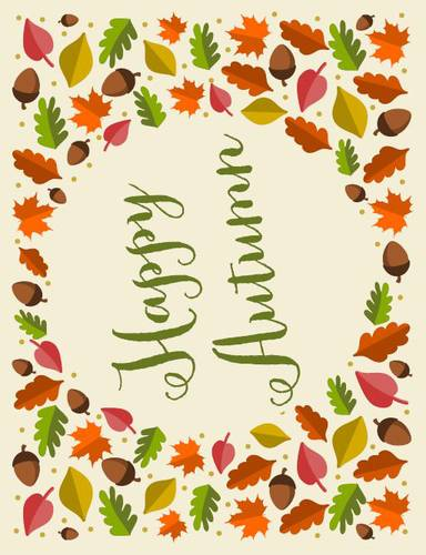 "OL175 - 8.5"" x 11"" - Happy Autumn Decor Sign"