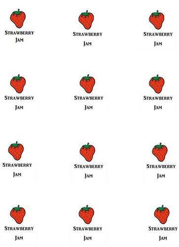 Strawberry Jam Jar Lid Labels