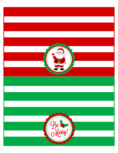 "OL1258 - 7.75"" x 4.75"" - Christmas Treat Plastic Baggie Topper Labels"