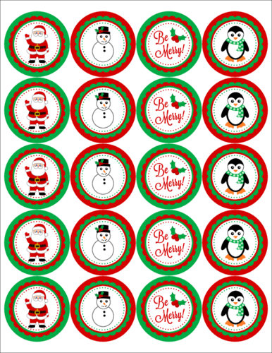 Christmas Themed 2 inch Circle Labels