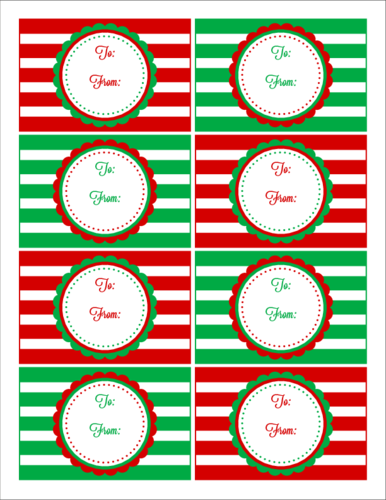 "OL575 - 3.75"" x 2.438"" - Red & Green Striped Christmas Gift Tag Labels"