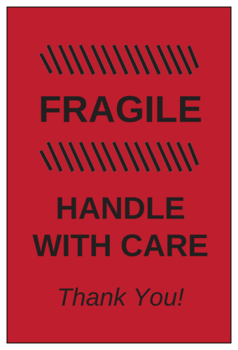 Fragile - Handle with Care Label pre-designed label template for OL145