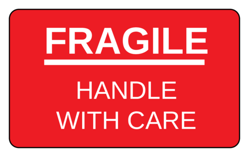 "OL1125 - 3.0625"" x 1.8375"" - Fragile - Handle With Care Label"