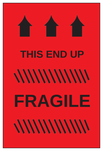 "OL145 - 6"" x 4"" - Fragile - This End Up Label"
