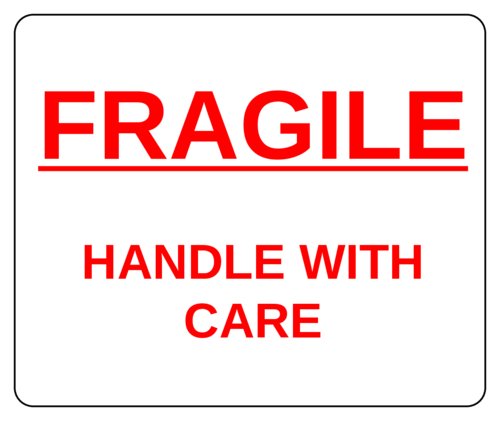 Fragile Handle With Care - Red - Label pre-designed label template for OL150