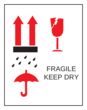 "OL750 - 2.83"" x 2.2"" - Fragile Keep Dry Label"
