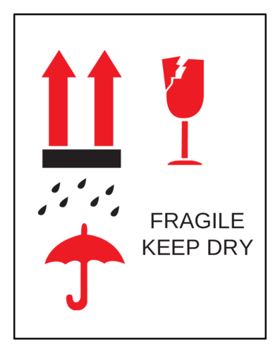 Fragile Keep Dry Label pre-designed label template for OL750