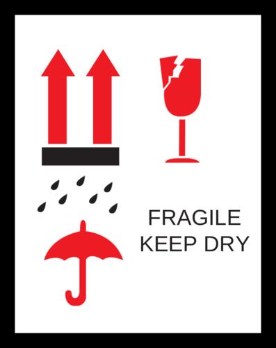 "OL750 - 2.83"" x 2.2"" - Fragile Keep Dry Label"