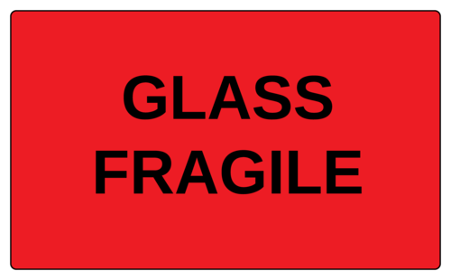 "OL6675 - 5"" x 3"" - Glass Fragile Label"