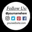 """Follow Us"" Social Network Themed Editable Label Design"