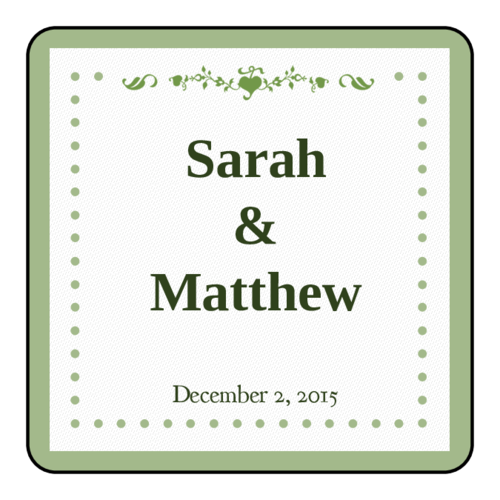 "Colonial - Pistachio Wedding 2"" x 2"" Label pre-designed label template for OL3016"