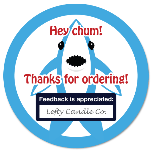 "OL350 - 2.5"" Circle - ""Left Shark"" - Thanks for Ordering - Feedback Stickers [Editable PDF]"