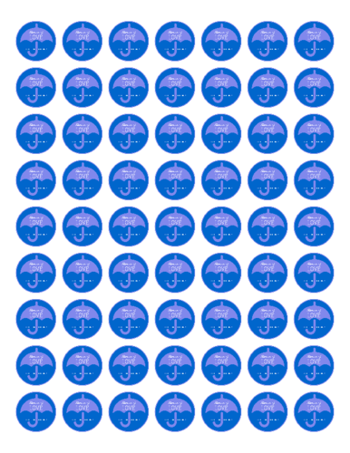 "OL1025 - 1"" Circle - Baby Shower Umbrella Favor & Decoration Label - Blue"