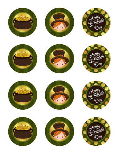 St. Patricks Day Round Cupcake Topper Stickers - Label Templates - St ...