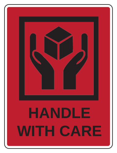 "OL500 - 4"" x 3"" - Handle With Care Label"