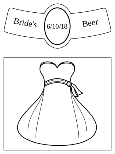 "OL3078 - 3.5"" x 3"" Beer - Wedding - Beer Bottle - Bride"